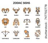 the twelve zodiac signs  aries  ... | Shutterstock .eps vector #747702778