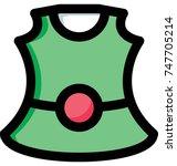 baby girls green frock vector... | Shutterstock .eps vector #747705214