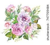 roses watercolor | Shutterstock . vector #747705484