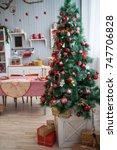 kitchen  christmas table | Shutterstock . vector #747706828