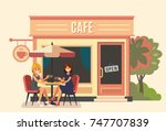 summer cafe and two girl.... | Shutterstock .eps vector #747707839