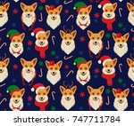 seamless christmas pattern with ... | Shutterstock .eps vector #747711784