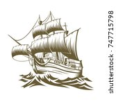 Illustration Old Ship With...