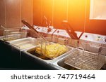 french fries cooking. grid with ... | Shutterstock . vector #747719464