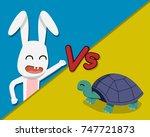 Stock vector rabbit versus tortoise vector cartoon design 747721873
