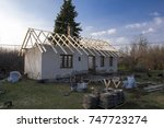 old house roof replacement | Shutterstock . vector #747723274