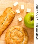 apple and cheese pies on a... | Shutterstock . vector #747726580