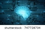 digital computer brain on... | Shutterstock . vector #747728734