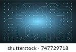 glowing energy flow through... | Shutterstock . vector #747729718