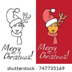 illustration on white and red... | Shutterstock .eps vector #747735169