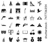 big world icons set. simple... | Shutterstock . vector #747736354
