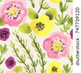 seamless watercolor pattern on... | Shutterstock . vector #747739120
