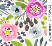 seamless watercolor pattern on...   Shutterstock . vector #747739123