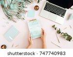flat lay home office desk.... | Shutterstock . vector #747740983