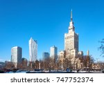 warsaw city center with palace... | Shutterstock . vector #747752374