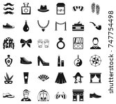 vogue life icons set. simple... | Shutterstock . vector #747754498