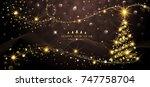 greeting card golden christmas... | Shutterstock .eps vector #747758704