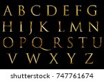 vintage font yellow gold... | Shutterstock . vector #747761674
