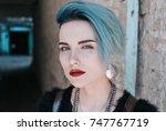portrait of beautiful freaky... | Shutterstock . vector #747767719