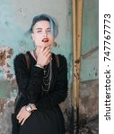 portrait of beautiful freaky... | Shutterstock . vector #747767773