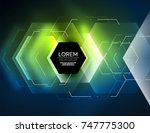 digital techno abstract... | Shutterstock .eps vector #747775300