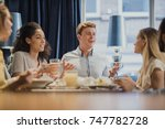 coworkers are enjoying...   Shutterstock . vector #747782728