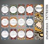 vector calendar 2018 with...   Shutterstock .eps vector #747783586