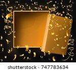 blank gold open box on black... | Shutterstock .eps vector #747783634