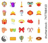 admiration icons set. cartoon... | Shutterstock . vector #747788410