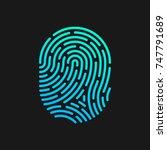 fingerprint linear design logo...   Shutterstock .eps vector #747791689