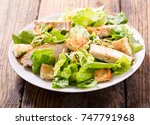 plate of chicken salad on a... | Shutterstock . vector #747791968