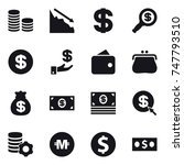 16 vector icon set   coin stack ... | Shutterstock .eps vector #747793510