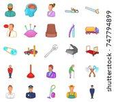 proceedings icons set. cartoon... | Shutterstock . vector #747794899