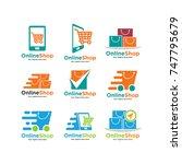 set of shopping cart logo and... | Shutterstock .eps vector #747795679