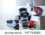 young business people working... | Shutterstock . vector #747795880