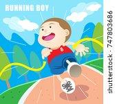 running boy to finish line... | Shutterstock .eps vector #747803686