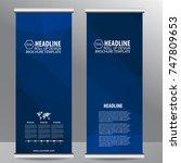 blue roll up business brochure... | Shutterstock .eps vector #747809653