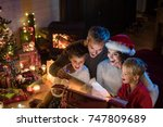 christmas night  a cheerful... | Shutterstock . vector #747809689