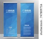 blue roll up business brochure... | Shutterstock .eps vector #747809716