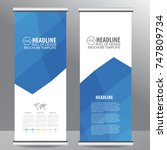 blue roll up business brochure... | Shutterstock .eps vector #747809734