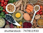 food to promote brain power and ... | Shutterstock . vector #747811933