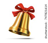 gold christmas bell with red... | Shutterstock . vector #747821614
