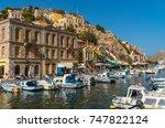 symi  greece  september 2017 ... | Shutterstock . vector #747822124