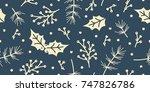 seamless christmas pattern... | Shutterstock .eps vector #747826786