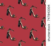 shoes  pattern  vector... | Shutterstock .eps vector #747843304