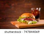 american snack with big burger...   Shutterstock . vector #747844069
