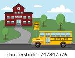 school bus in front of the... | Shutterstock .eps vector #747847576