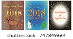 new year 2018 and christmas... | Shutterstock .eps vector #747849664