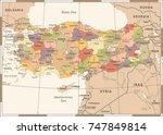 turkey map   vintage detailed...   Shutterstock .eps vector #747849814