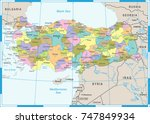 turkey map   detailed vector... | Shutterstock .eps vector #747849934